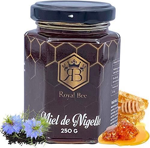 Miel de nigelle d' Egypte 250 G + 1 cuillère en bois offerte - 100% Naturel et Artisanal Sans Colorants ni Conservateurs   Antioxydant, Gourmet - Qualité Premium