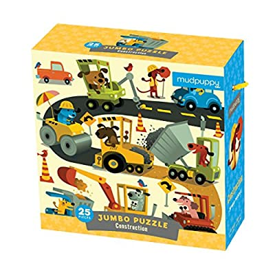 """Mudpuppy Construction Site Jumbo Puzzle, 25 Jumbo Pieces, 22""""x22"""", Great for Kids Age 2+, Fun Colorful Illustrations of Dogs on a Construction Site, Rope Handle on Box, Multicolor, 1 EA"""