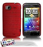 Muzzano F4A6-425NN6753 - Funda para HTC Sensation, con 3 protectores de pantalla, color rojo