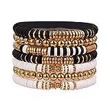 Colorful Surfer Stretch Bracelet, Letter Vinyl Beads Bracelet Set, Handmade Elastic Rope Heishi Bracelet, Summer Beach Bracelet for Women and Girls (gold bracelet B)