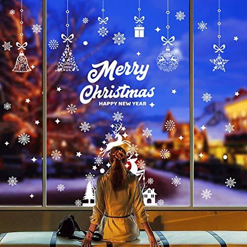DURINM 139 Pcs Pegatinas Navidad para Ventanas Decoracion De Navidad Pegatinas Ventana Navidad Adornos De Navidad para Escaparates De La Ventana Extraíble PVC Pegatinas