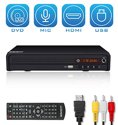 DVD Player for TV, DVD Player with HDMI & AV Output (HDMI & AV Cable Included), All-Region Free, USB/MIC Input,NOT Blu-ray DVD Player,DVD/CD/MP3 Disc Player with Remote Control