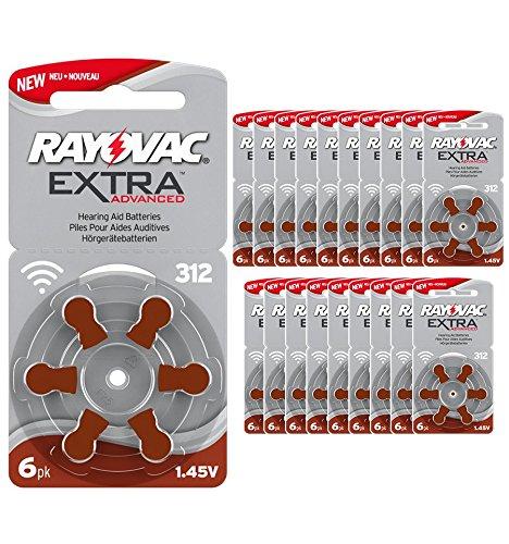 120 pile batterie per apparecchi acustici RAYOVAC EXTRA 312 (marroni) PR41 1.45V SPEDIZIONE CORRIERE