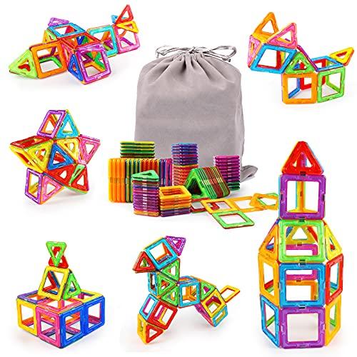 Magnetico Costruzione Blocchi 64 Pezzi Blocchi Magnetici Bambini Giocattoli Magnetici Costruzioni 3D Costruzioni di Giocattoli Educativi con Borsa Portaoggetti per Bambine da 3 4 5 6 7 8 9 Anni