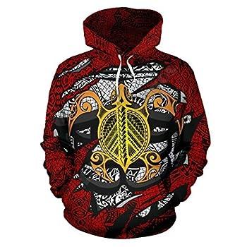 YX GIRL Kanaka Polynesian Tribal Tattoos Turtle 3D Printed Hoodies Pullover Women for Men Streetwear Sweatshirts Turtle-1-4-8,2XL/3XL