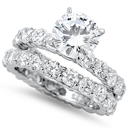Oxford Diamond Co 3Ct Round White Cz Eternity Engagement Ring Wedding Set .925 Sterling Silver Ring Size 6