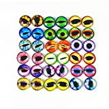 JulieWang 12mm 60pcs Mixed Dragon Eyes Round time gem Cover Glass Cabochon Dome Cameo Pendant Settings