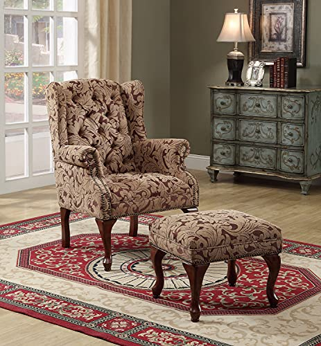 Tufted Wing Back Chair and Ottoman Brown