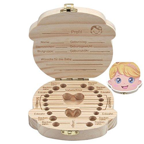 Mogoko [Deutsch Version] baby Kinder Original Holz Haar Milchzahndose Milchzähne Zähne box Kasten Souvenir Aufbewahrungsbox (Farbig Prinzessin)