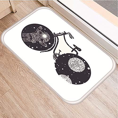 HLXX Alfombra Blanca y Negra Antideslizante con diseño de Ballena de Luna de Bosque, Felpudo para Puerta, Alfombra Interior para Sala de Cocina, Alfombra A12 40x60cm