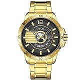 RORIOS Moda Hombre Relojes Impermeable Cuarzo Reloj con Correa en Acero Inoxidable Relojes de Pulsera Negocios Deportivos Reloj para Hombre