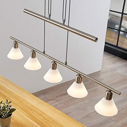 Lindby Pendelleuchte 'Delira' dimmbar (Modern) in Alu aus Metall u.a. für Wohnzimmer & Esszimmer (5 flammig, E14, A++) - Deckenlampe, Esstischlampe, Hängelampe, Hängeleuchte, Wohnzimmerlampe