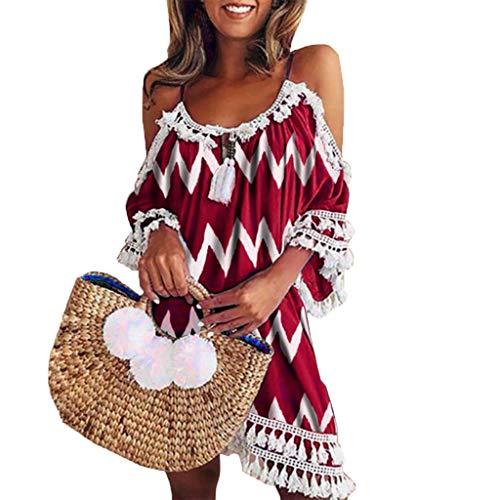 Lulupi Sommerkleid mit Carmen-Ausschnitt Damen Sexy, Oversized T-Shirt-Kleid Lockerer Spitze Casual Loose Mini Bardot Dress