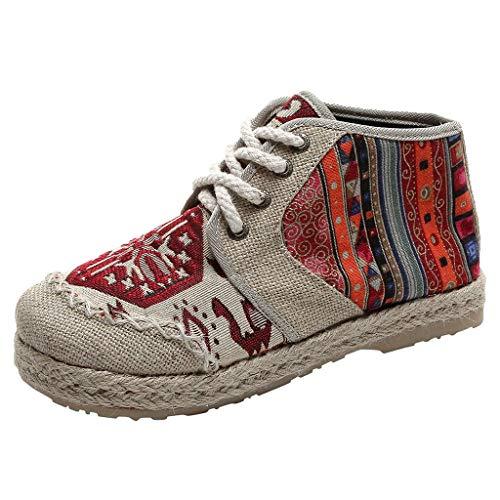KUKICAT Tuch Schuhe nationalen Wind Damenschuhe hoch, um dicken Boden Flache Leinen Retro Student lässig große einzelne Schuhe zu helfen