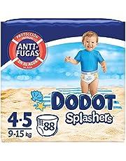 Dodot Pañales Bebé Bañador Splashers, Talla 4-5 (9-15 kg), 88 Pañales Desechables con Protección Anti-Fugas en el Agua
