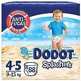 Dodot Splashers Talla 4, 88 Pañales bañadores desechables, 9-15 kg, no se hinchan y fácil de quitar