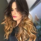 AISI HAIR Ombre Wig Black to Light Brown Side Part Long Wavy Wig Heat Resistant Synthetic 2 Tone Black to Brown Wavy Wigs for Women Synthetic Heat Resistant Party Wigs