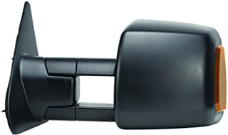 Fit System Driver Side Towing Mirror for Toyota Tundra Pick-Up, Sequoia, w/Turn Signal & Running Lights, extendable, Dual Mirror, Textured Black, Foldaway, Heated Power, Black, Standard