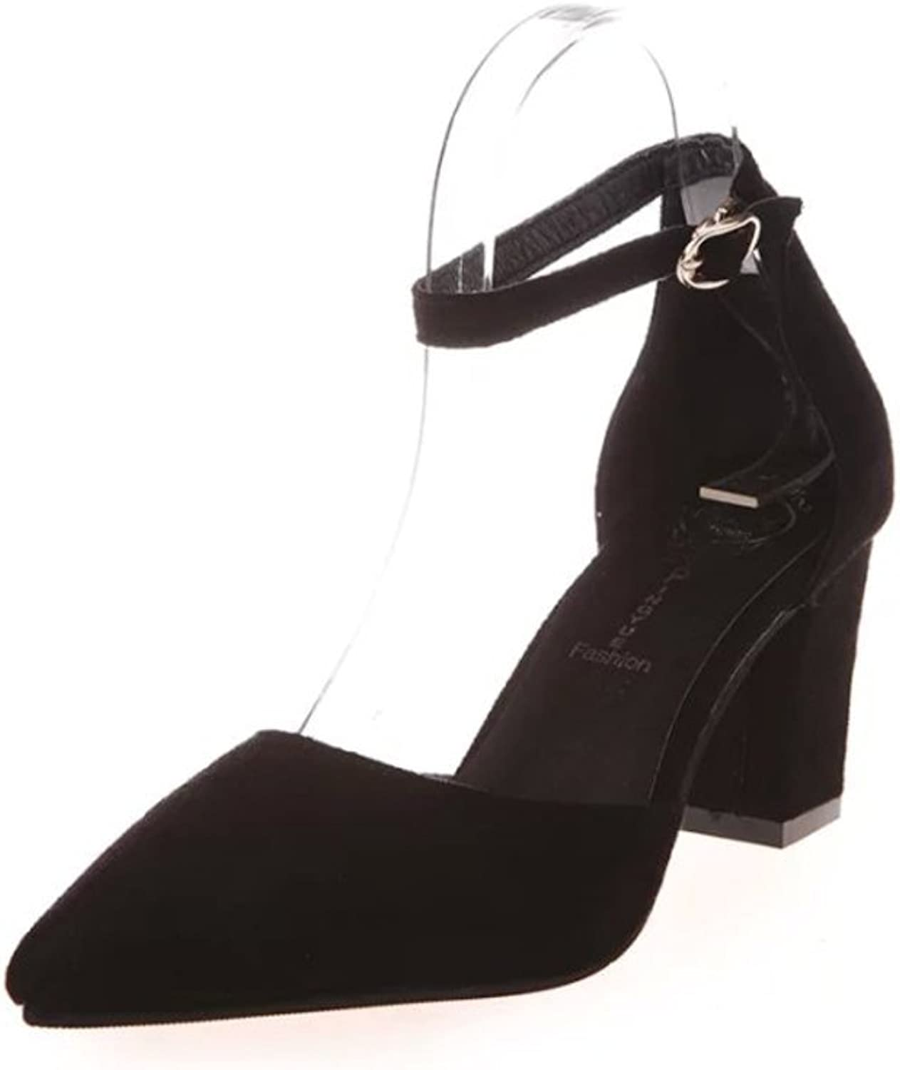 Summer heavy with pointy shoes Thin buckle heeled strappy Sandals