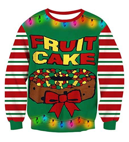 Rave on Friday Unisex 3D Pullover Teenager Druck Frucht Kuchen Muster Bequem Lose Sweatshirts Casual Kostüme für Paar Familie L