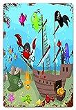 DECISAIYA Vendimia Cartel de Chapa metálica Dibujos animados Barco submarino Descubierto Animales marinos Cofre del tesoro Aventura marina Placa Póster,Decoraciones de de Pared de Hierro Retro 20x30cm