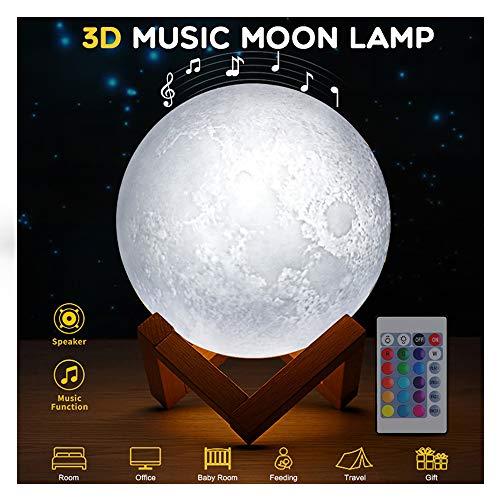 WYY lamp nachtlampje maan 16 kleuren lamp 3D ster met beugel van hout, touchscreen afstandsbediening luidspreker Bluetooth baby licht perfect cadeau voor vrienden