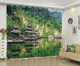 YMLJH 3D Verdunkelungsvorhang Hutan Pavillon Schwerer Verdunkelungsvorhang Thermovorhang lichtdicht für Wohnzimmer Schlafzimmer Küche 2 x B168 x H229cm