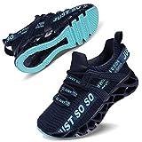 Vivay Unisex-Kinder Turnschuhe Sportschuhe Hallenschuhe Leicht Atmungsaktiv Laufschuhe Sneaker für Jungen Mädchen,2Dunkelblau,34 EU