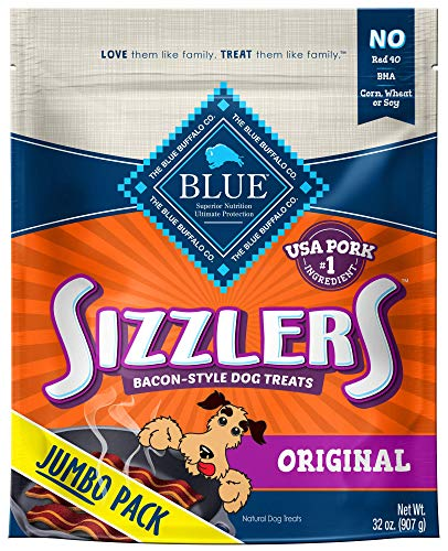 Blue Buffalo Sizzlers Natural Bacon-Style Soft-Moist Dog Treats, Original Pork 32-oz bag