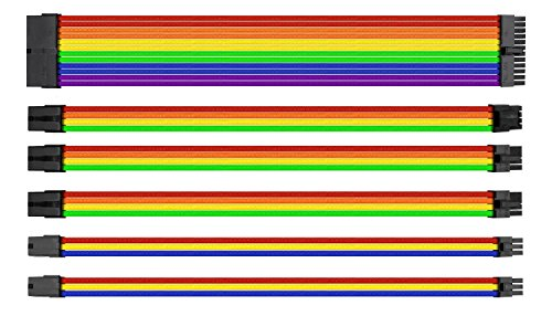 Thermaltake TtMod Hülsenverlängerung Netzteil Kabel Kit ATX/EPS/8-pin PCI-E/6-pin PCI-E mit Combs, Rainbow Combo AC-049-CNONAN-A1