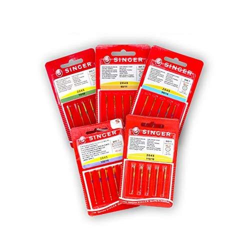 Singer Pack de 5 Paquetes de Agujas para Máquinas de Coser de Punto, Elásticos, Stretch Universales 130/705 H-S 2045 Grosor 70, 80, 90, 100 y 110