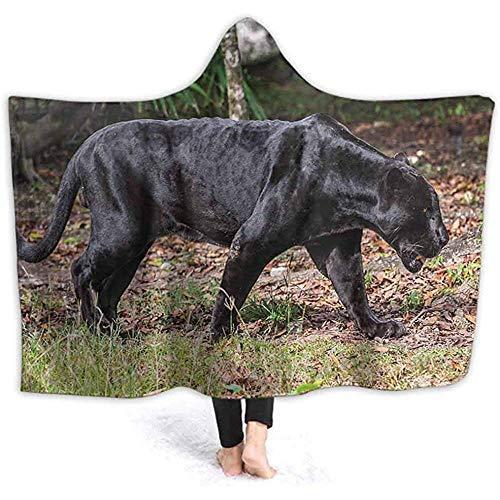 Manta con capucha de 40 pulgadas x 50 pulgadas, diseño de pantera negra que camina a través de la selva, manta con capucha para forro polar, manta de microfibra