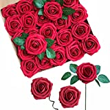 ACDE Fiori Artificiali, Rosa Artificiali 25 Pezzi Rose Finte Schiuma Aspetto Reale con Foglia e Gambo Regolabile per DIY Matrimoni Mazzi Nuziale Festa Casa Stanza Decorazioni (Rosso Scuro)