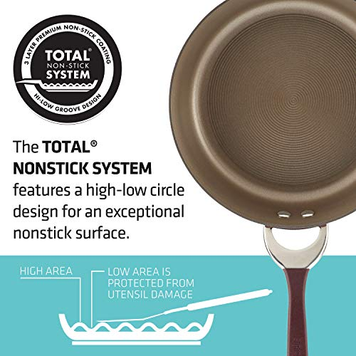 Circulon 87532 Symmetry Hard Anodized Nonstick Sauce Pan/Saucepan with Straining and Lid, 3.5 Quart, Red