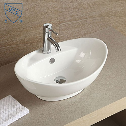 White Oval Ceramic Bathroom Kitchen Vessel Sink Porcelain...