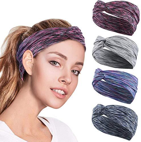 GoHZQ 4 Stück Frauen Sport Stirnband Anti Rutsch elastische Sport Stirnband Sport Wicking Stirnband kommt mit Cross Design Frauen Schweißband absorbierende Feuchtigkeit für...