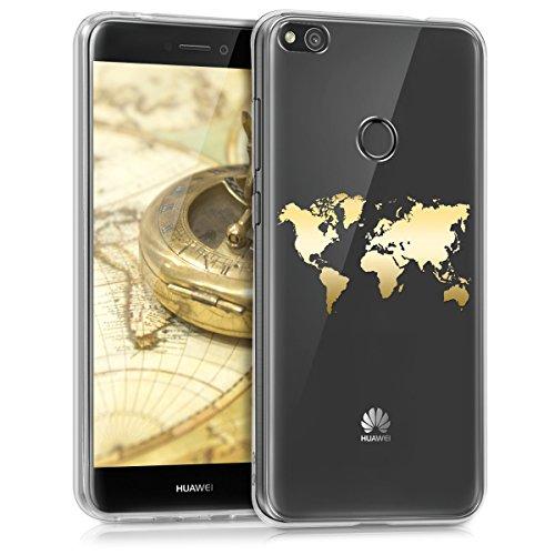 kwmobile Funda Compatible con Huawei P8 Lite (2017) - Carcasa de TPU Mapa del Mundo en Dorado/Transparente