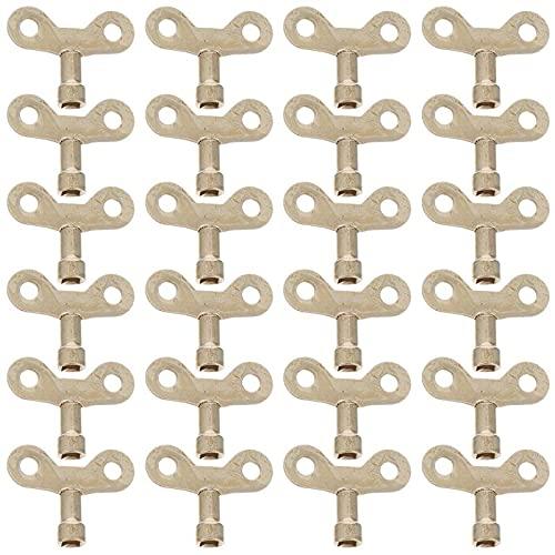 Llave del radiador 24 PCS Agua Tap Interruptor Teclas de oro 6mm Metal Agujero cuadrado Grifo llave llave llave grifo Perilla de grifo de agua para ventilar Válvula de aire radiador para Radiadores y