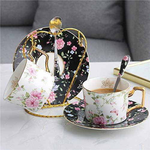MSNLY Juego de té y Taza de café de té nórdico luz nórdica, Juego de té para el hogar, Juego de Agua, Taza de té de Flores, Juego de café Oro pequeño, Juego de café, Juego de café