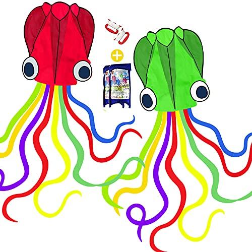 Toynspringカイト凧凧揚げスカイカイト紙鳶スポーツカイトアウトドア凧揚げ大会おもちゃ屋外子供大人アウトドア公園糸巻き収納バッグ付き(骨なし凧2個セット)