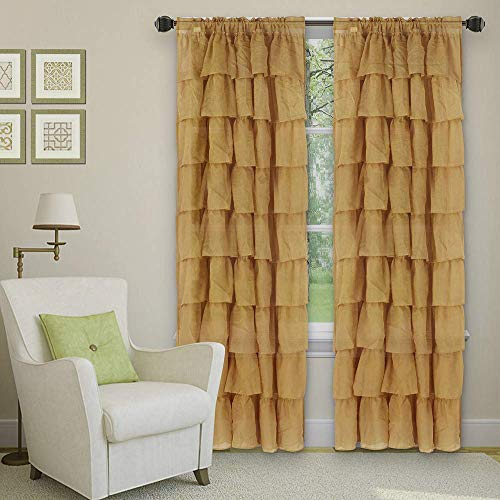 Sapphire Home 2 Panels Crushed Ruffle Sheer Window Curtain Panels 63