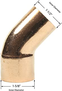 Libra Supply 1-1/2'', 1-1/2 inch, 1-1/2-inch 45-Degree Street Elbow FTG x C, (click in for more size options)Copper Pressure Pipe Fitting Plumbing Supply