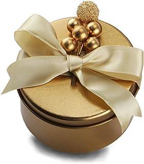 Elenxs Tinplate Candy Box Wedding Birthday Party Christmas Round Iron Sundries Storage Gift Candy Case Jewelry Organizer