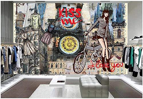 Foto 3D Tapeteeuropäischer Stil Mode Jugendkleidung Bekleidung Modegeschäft Dekor 3D Wandbilder Tapete Für Wände 3 D-300 * 210Cm