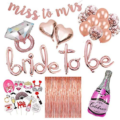 Junggesellenabschied Deko XXL Set - 41 Teile - Bride to be Dekoration, JGA Deko, Accessoires - XXL Sektflasche und Ring, Girlande, Foto Requisiten, Luftballons - Rosa, weiß