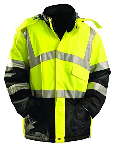 OccuNomix LUX-TJCW-Y3X Premium Thermal Insulated Mid-Thigh Length Cold Weather Parka Jacket with Quilted Lining, Insulated Removable Hood, and Zipper Closure with Storm Flap, Class 3, 100% ANSI Polyester, 3X-Large, Yellow