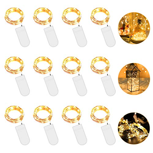 Vivibel 12 Stück LED Lichterkette Batterie Warmweiß, 2M 20 LED Kupferdraht Lichterkette Batteriebetrieben IP65 Wasserfest Fairy Light für Party Garten Weihnachten Hochzeit Beleuchtung Deko