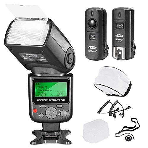 Neewer 750II TTL Flash Kit for Nikon D7200 D7100 D7000 D5500 D5300  D5200 D5100 D5000 D3300 D3200 D3100 D3000 D700 D600 D500 D90 D80 D70 D60 D50 Cameras with Wireless Trigger Diffuser Lens Cap Holder