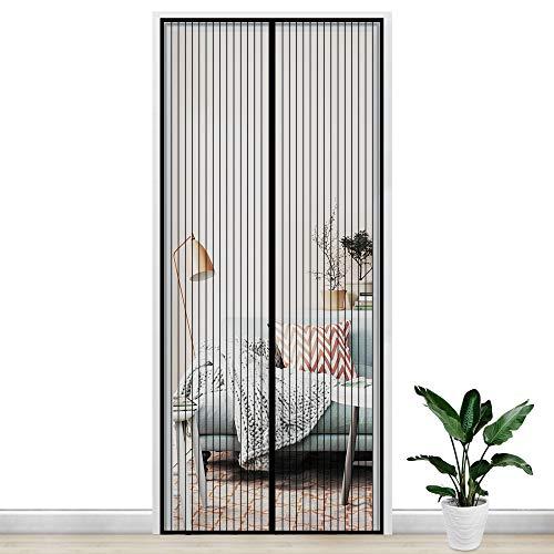 Gimars Cortina mosquitera doble magnetica puerta exterior sin tornillos, Mosquitera puerta corredera lateral con iman para terraza/habitacion 90 * 210 cm Fácil de instalar