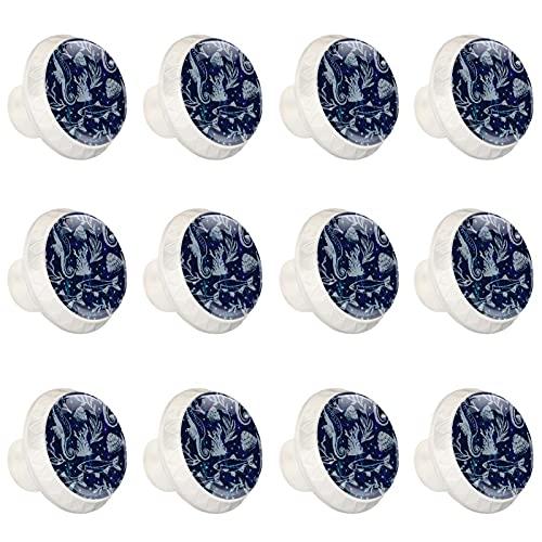 estilo magnífico gabinete de cerámica perillas tire manijas para muebles armario cajón armario cocina baño,Blue Marine Life Seahorse Fish Shell